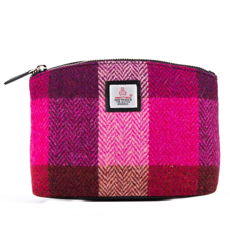 Harris Tweed - Cosmetic Bag - Pink Squares