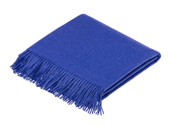 plain blue throw blanket made from alpaca by bronte moon