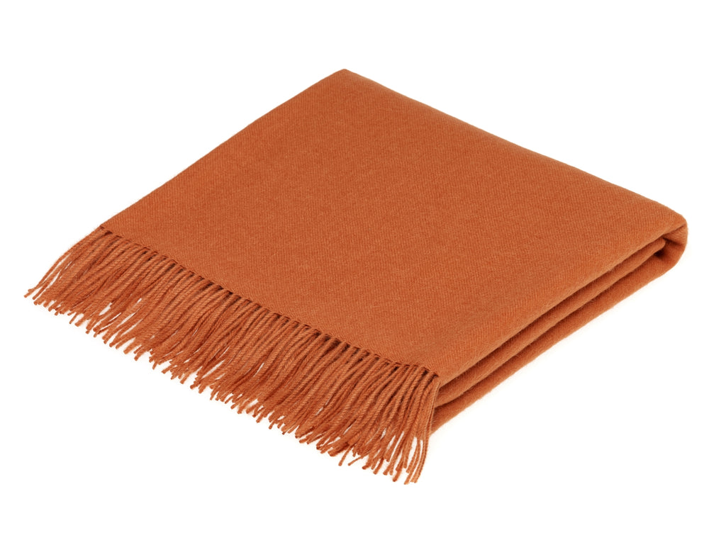 Baby Alpaca Throw/Blanket - Plain Terracotta - Made in the UK