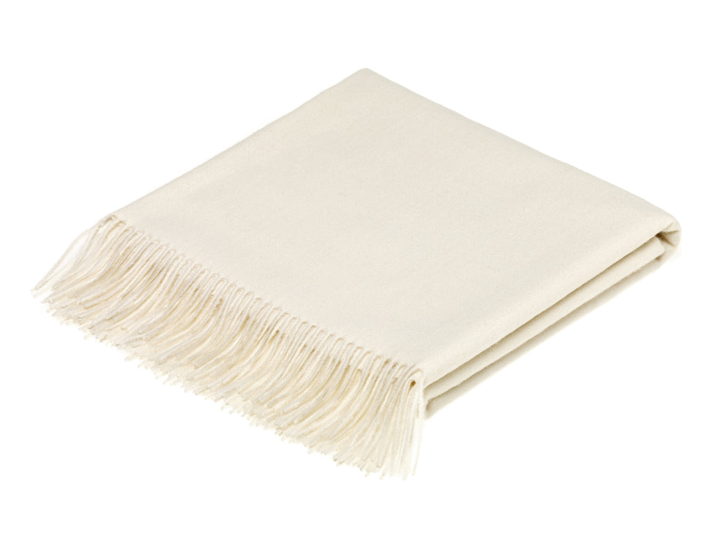 plain cream throw blanket made from alpaca by bronte moon