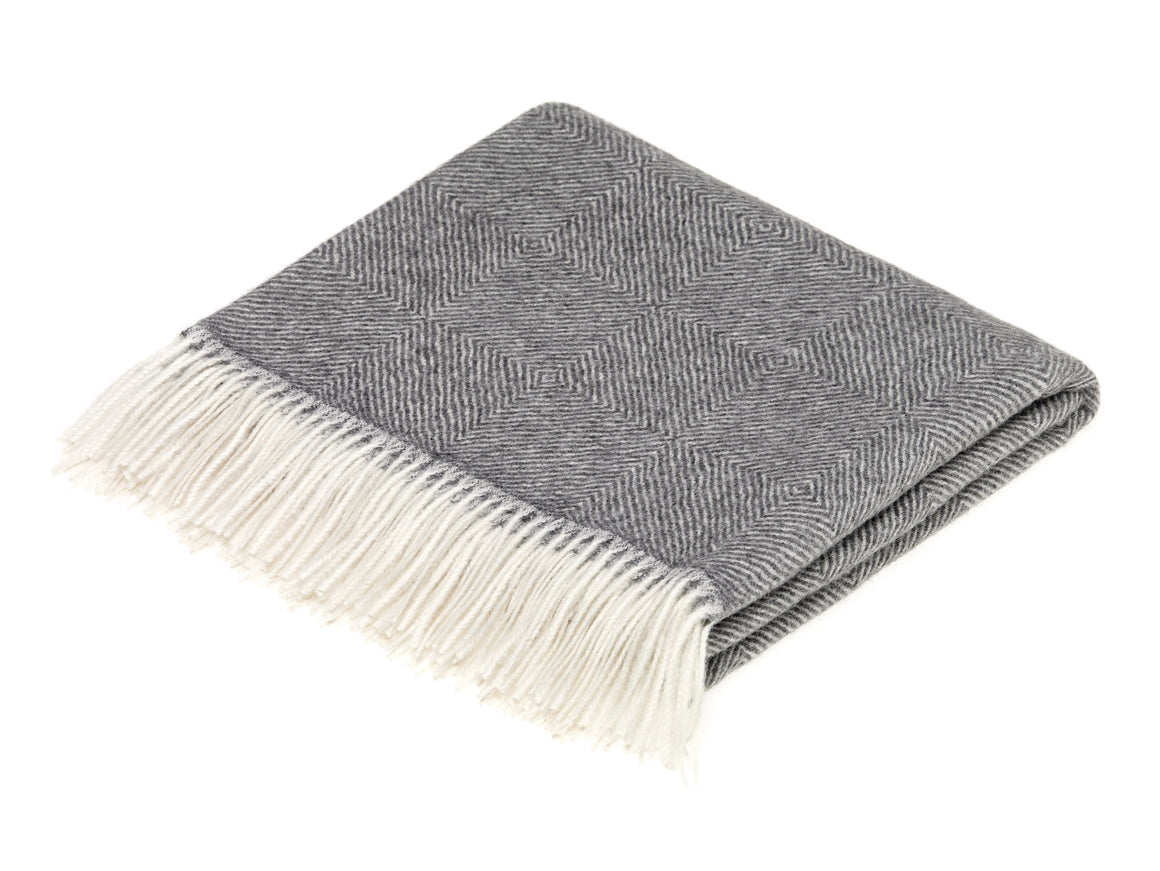 gray diamond herringbone throw blanket made from alpaca