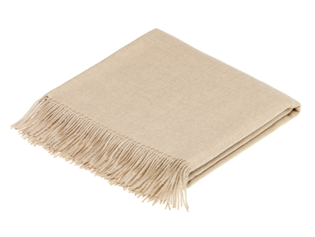 plain beige throw blanket made from alpaca by bronte moon