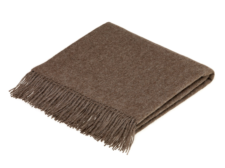 plain brown throw blanket made from alpaca by bronte moon
