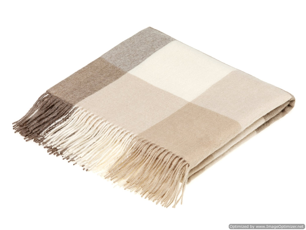 camel and off white check wrap or shawl in alpaca, bronte moon