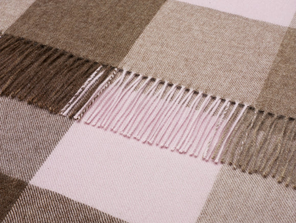 brown and pink check throw blanket in alpaca by bronte moon