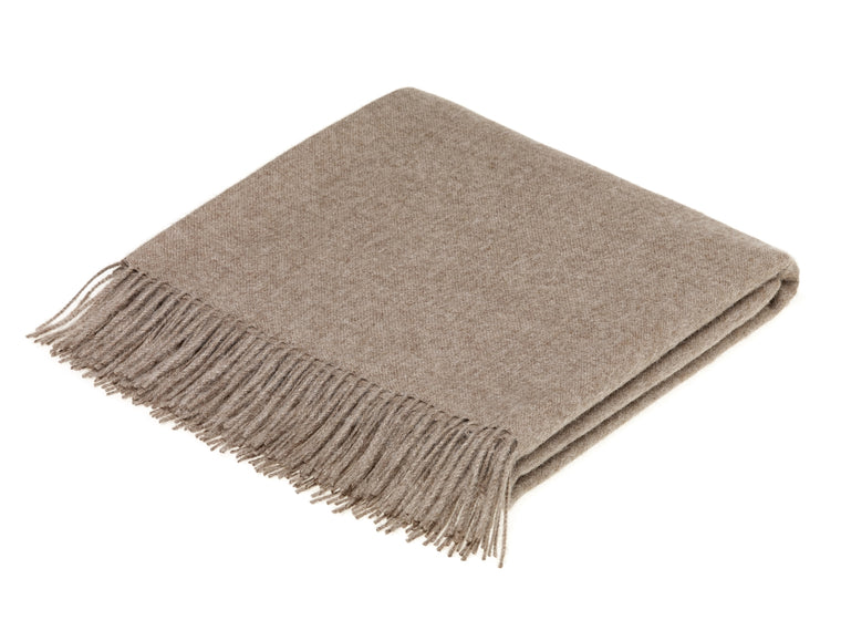 plain light brown throw blanket made from alpaca, bronte moon