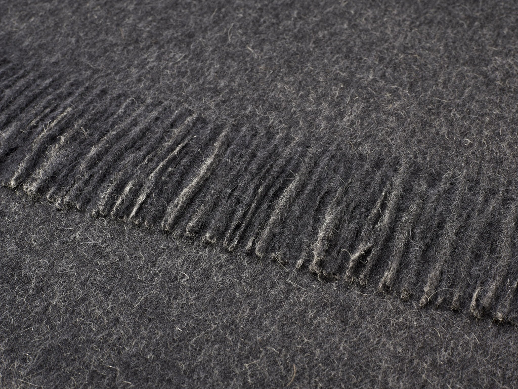 plain charcoal gray throw blanket made from alpaca, bronte moon