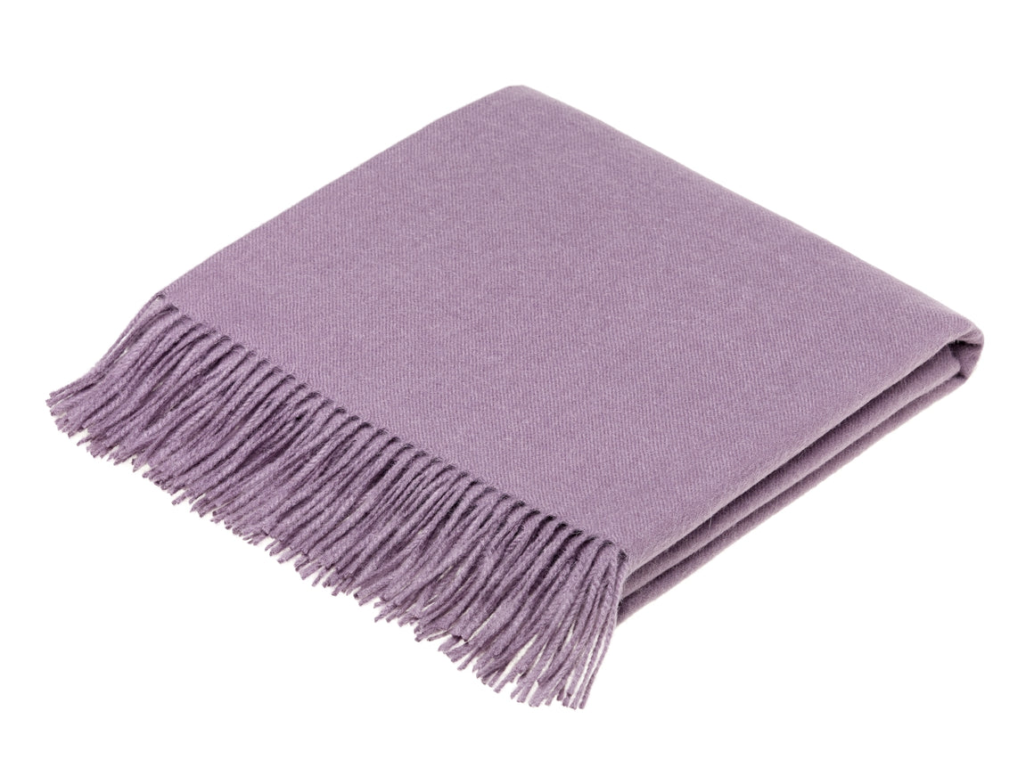 plain pale purple throw blanket made from alpaca, bronte moon