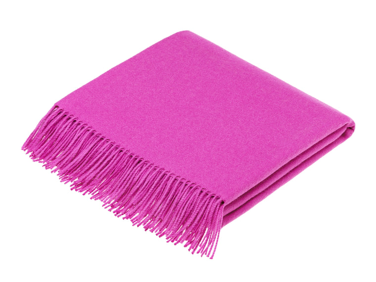 plain fuschia pink throw blanket made from alpaca, bronte moon