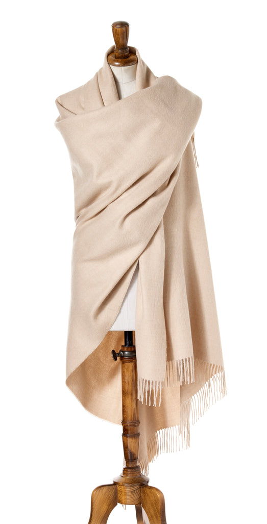 Alpaca Wrap - Shawl - Plain Beige - Made in England - Bronte Moon