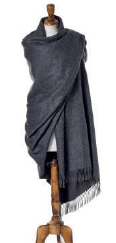 plain charcoal gray wrap or shawl made from alpaca, bronte moon