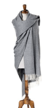 gray herringbone wrap or shawl made from alpaca, bronte moon
