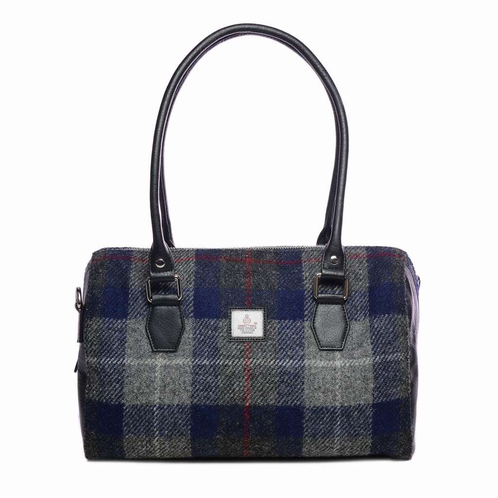 Harris Tweed - Handbag - Bowling Bag - Plaid Navy & Grey