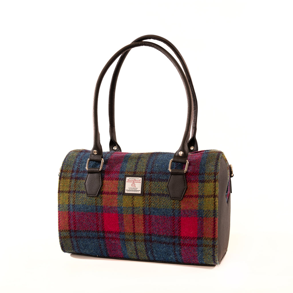Harris Tweed - Bowling Bag - Blue / Pink Check