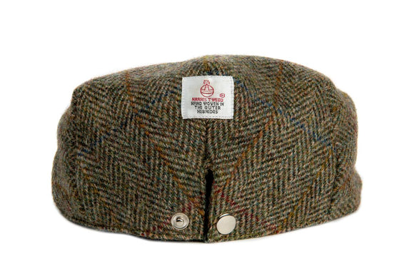 Harris Tweed Herringbone Flat Cap Hat - Moss Green - Unisex - Bronte Moon