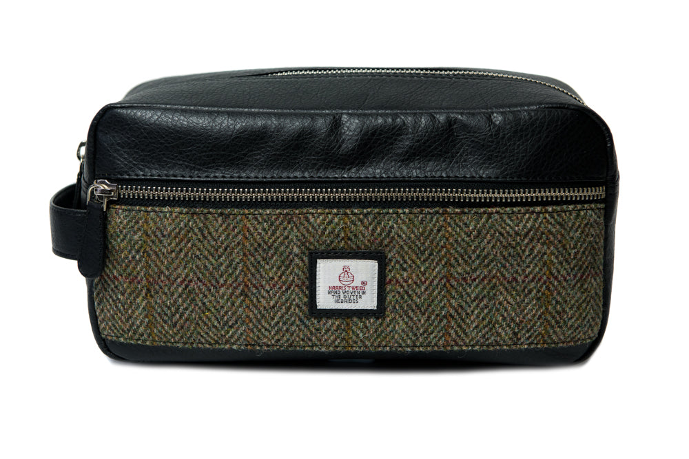 Harris Tweed - Dopp Kit - Toiletry Bag - Moss Green