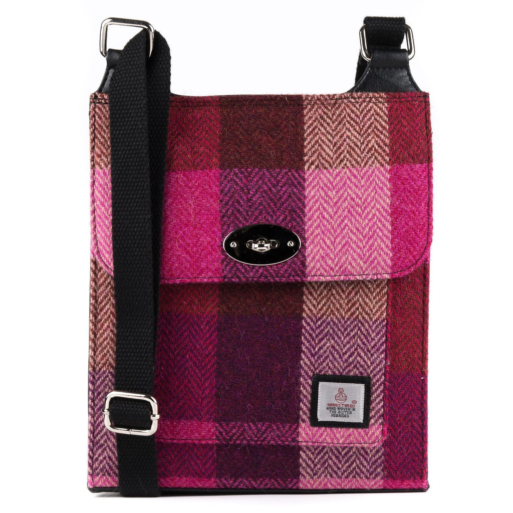 Harris Tweed - Satchel Bag - Pink Squares