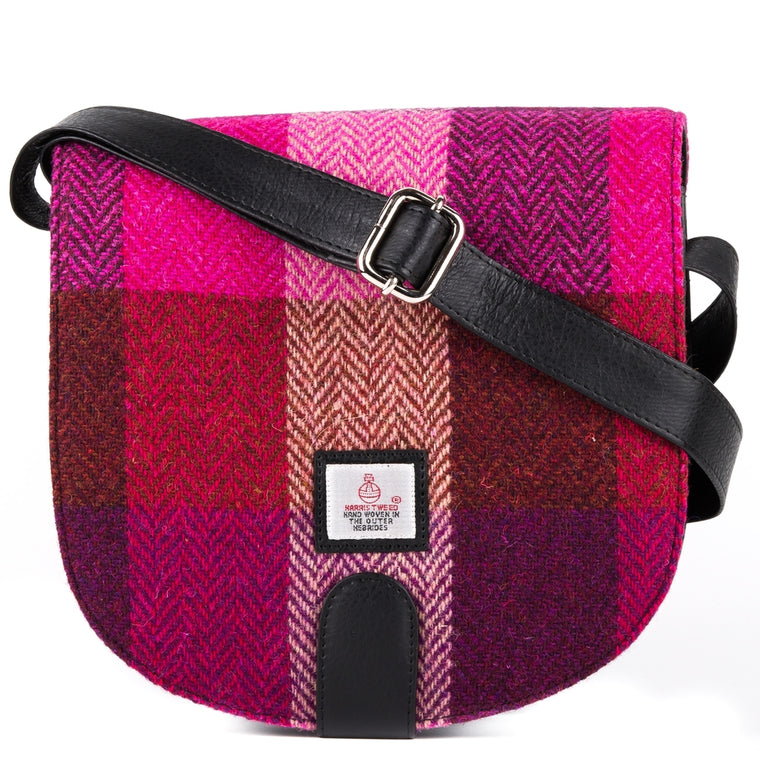 Harris Tweed - Small Cross Body Bag - Pink Squares