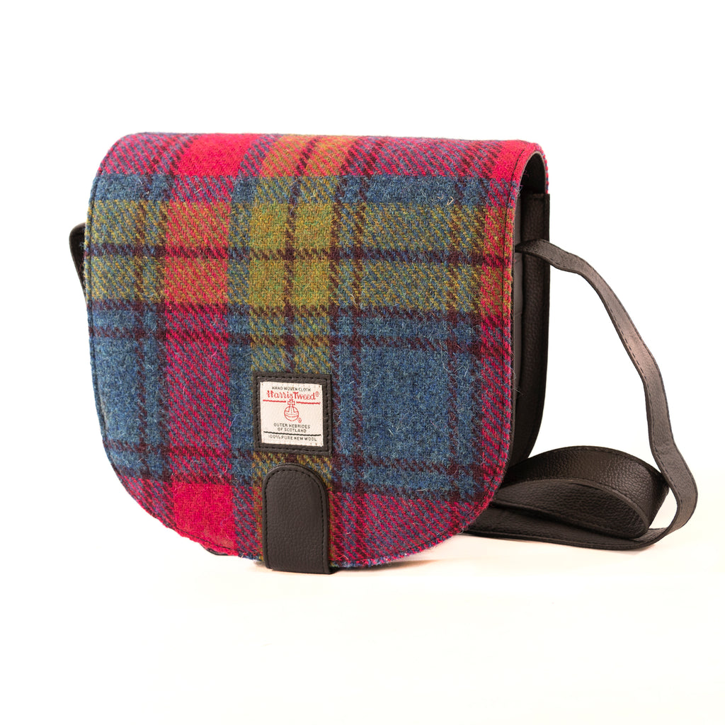 Harris Tweed - Small Cross Body Bag - Blue/Pink Check