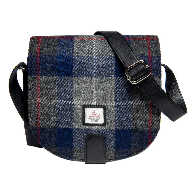 Harris Tweed - Small Cross Body Bag - Plaid Navy & Gray