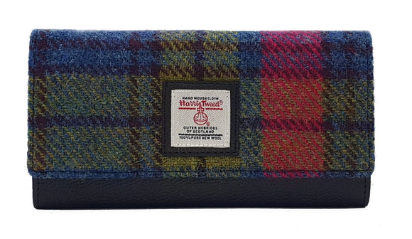 Harris Tweed - Ladies Envelope Purse - Blue / Pink Check