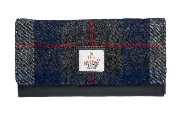 Harris Tweed - Envelope Purse - Plaid Navy & Gray