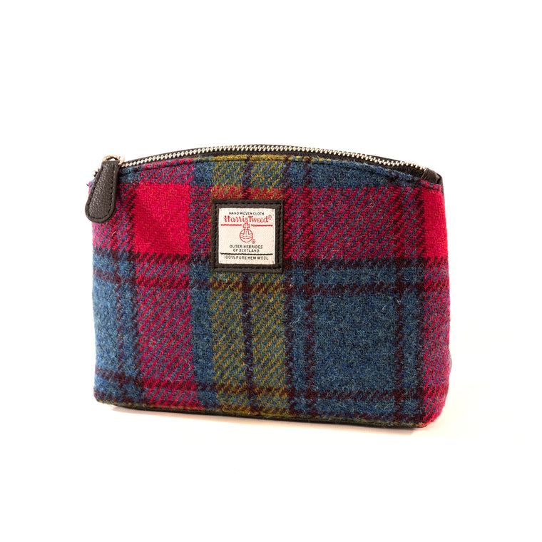 Harris Tweed - Cosmetic Bag - Blue/Pink Check