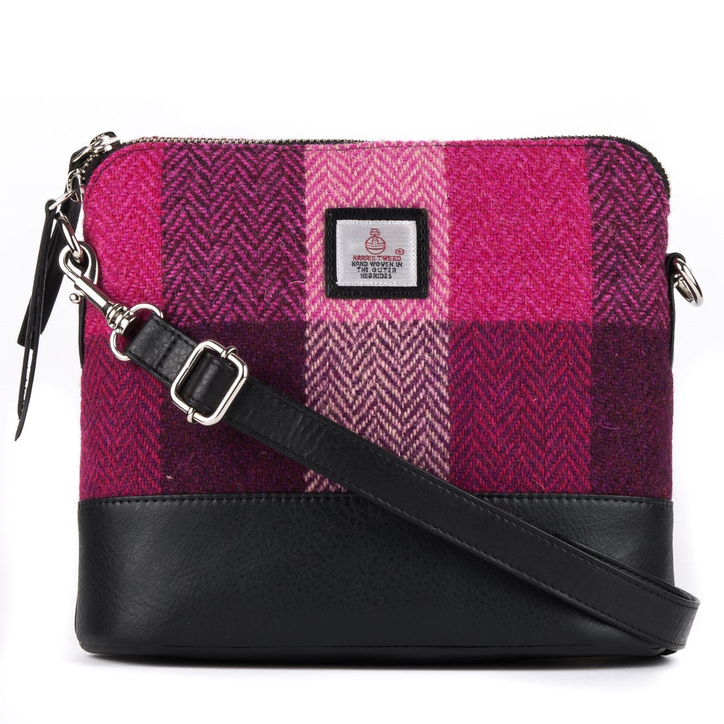 Harris Tweed - Square Shoulder Bag - Pink Squares
