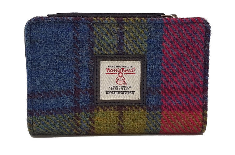 Harris Tweed - Zip Purse - Blue / Pink Check