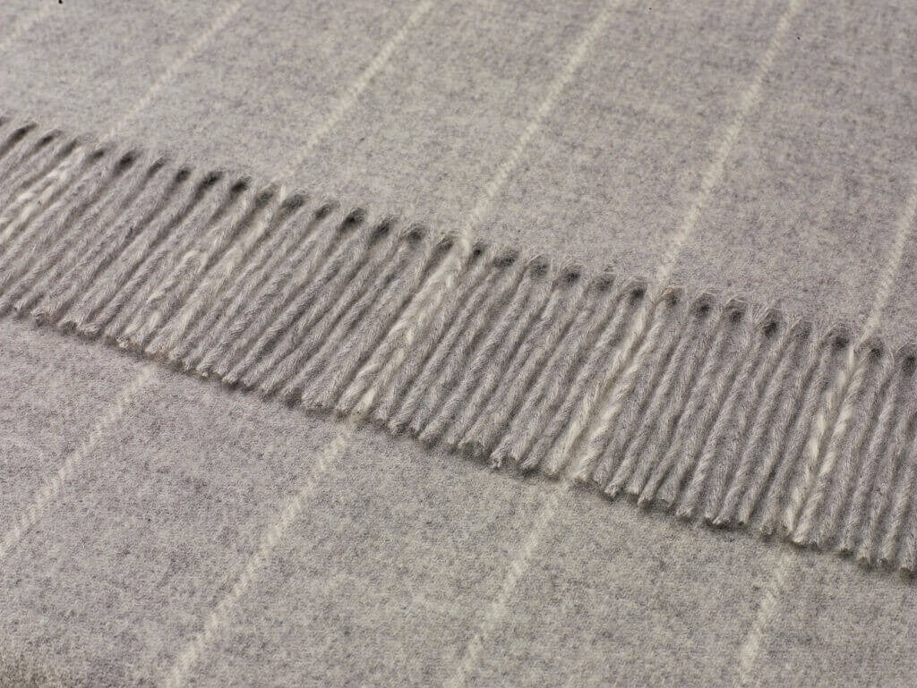 Merino Lambswool Pinstripe Gray Throw Blanket