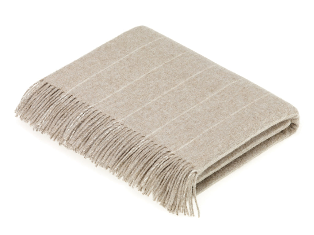 Merino Lambswool Pinstripe Beige Throw Blanket