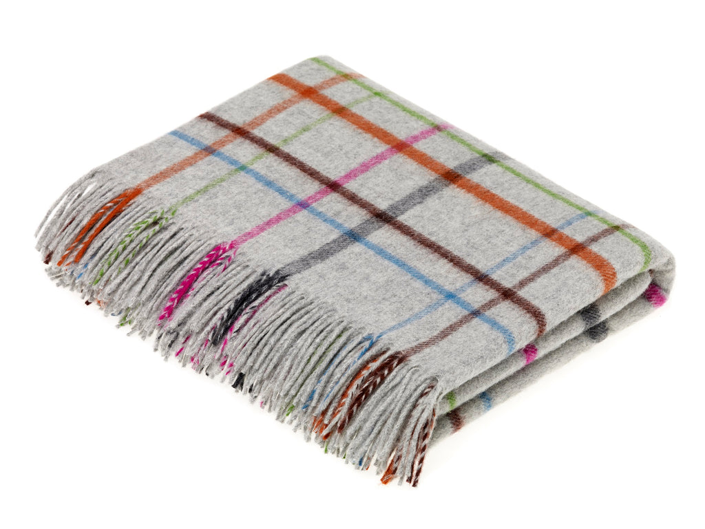 Merino Lambswool - VAR Windowpane Rainbow Throw Gray Multi, Made in England