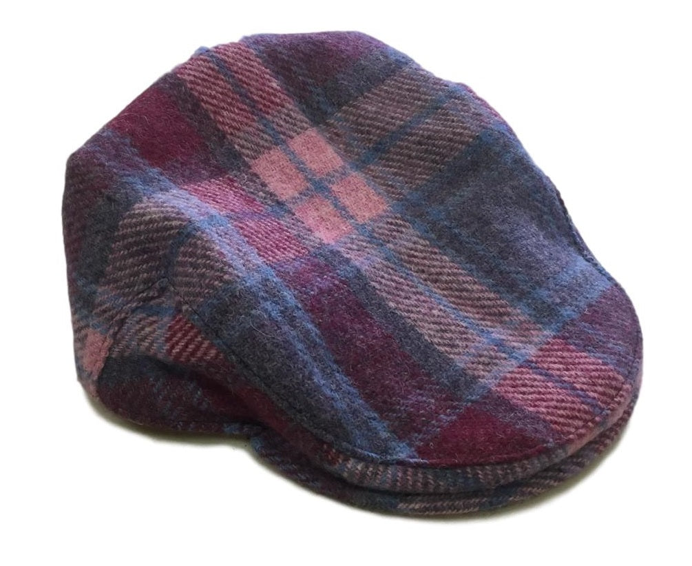 Harris Tweed Plaid Flat Cap - Pastel Pink - Unisex - Bronte Moon