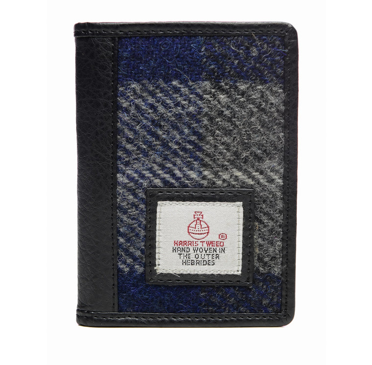 Harris Tweed - Cardholder Wallet - Plaid Navy & Blue Check
