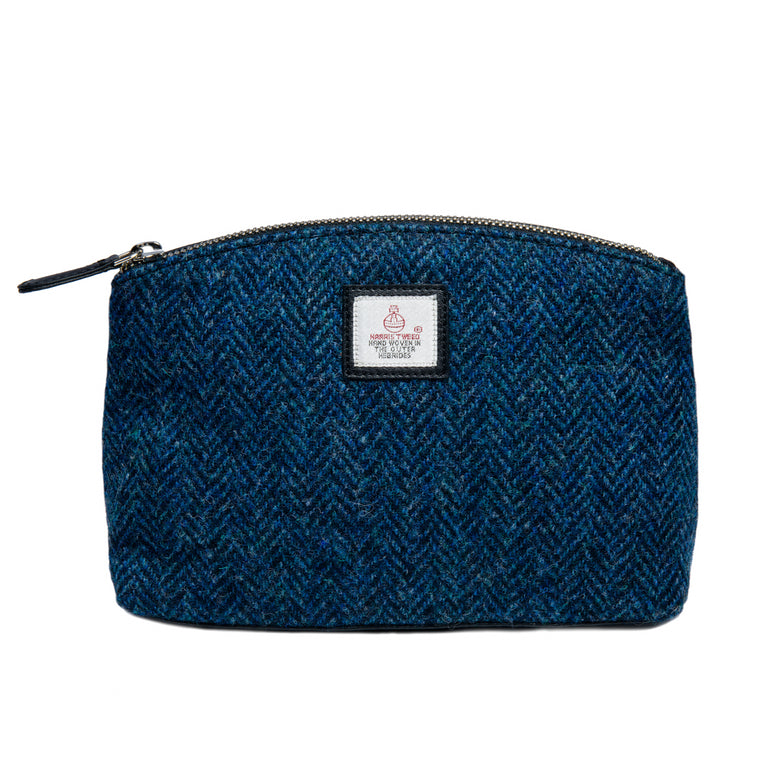 Harris Tweed - Cosmetic Bag - Blue Herringbone