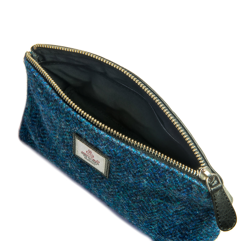 Harris Tweed - Cosmetic Bag - Plaid Navy & Gray