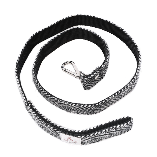 Harris Tweed - Dog Lead - Black & White