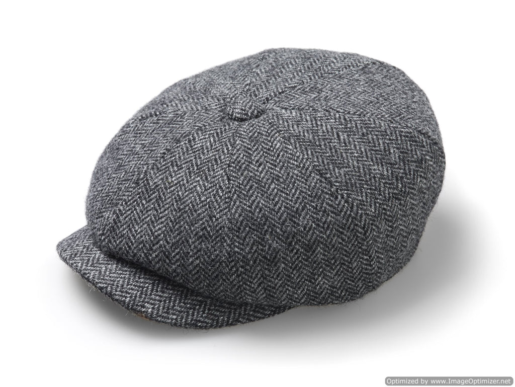 Baker Boy Cap - Unisex - Newsboy Cap / Hat - Herringbone - Mid Gray, Made in England