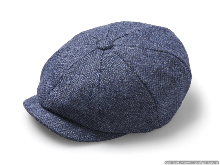 Baker Boy Cap - Unisex - Newsboy Cap / Hat - Herringbone - Denim, Made in England