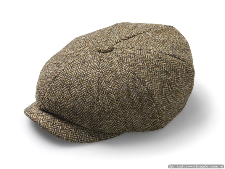 Baker Boy Cap - Unisex - Newsboy Cap / Hat - Herringbone - Country Brown, Made in England