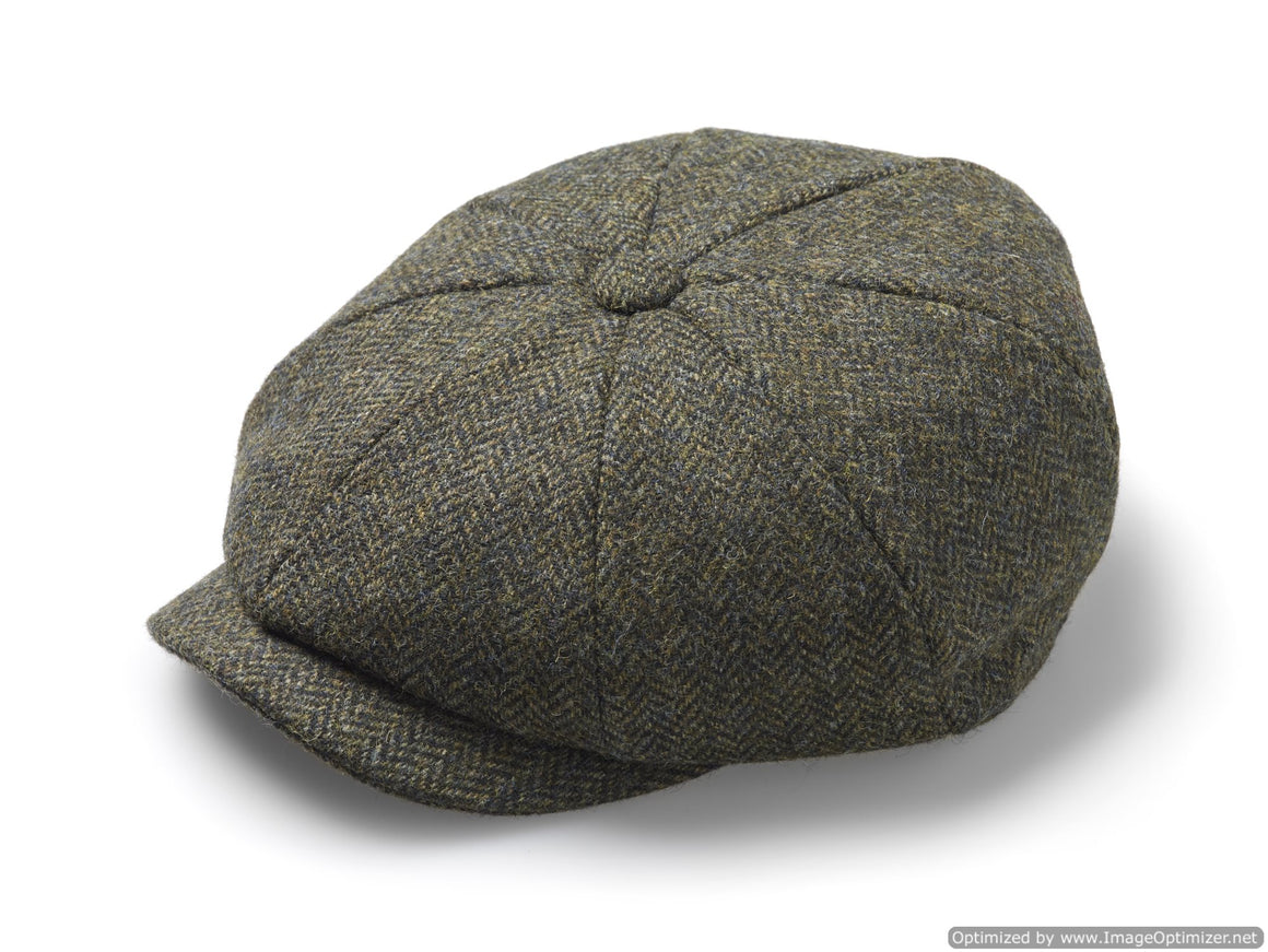 Baker Boy Cap - Unisex - Newsboy Cap / Hat - Herringbone - Forest, Made in England