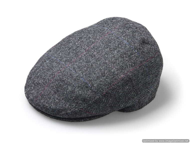 Flat Cap - Windowpane - Slate - Unisex - Made in England