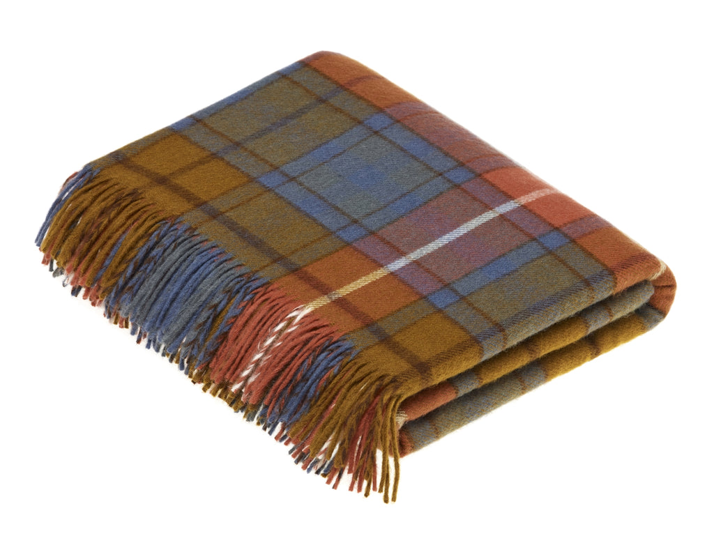 Tartan Plaid - Merino Lambswool Throw Blanket-  Antique Buchanan - Made in England