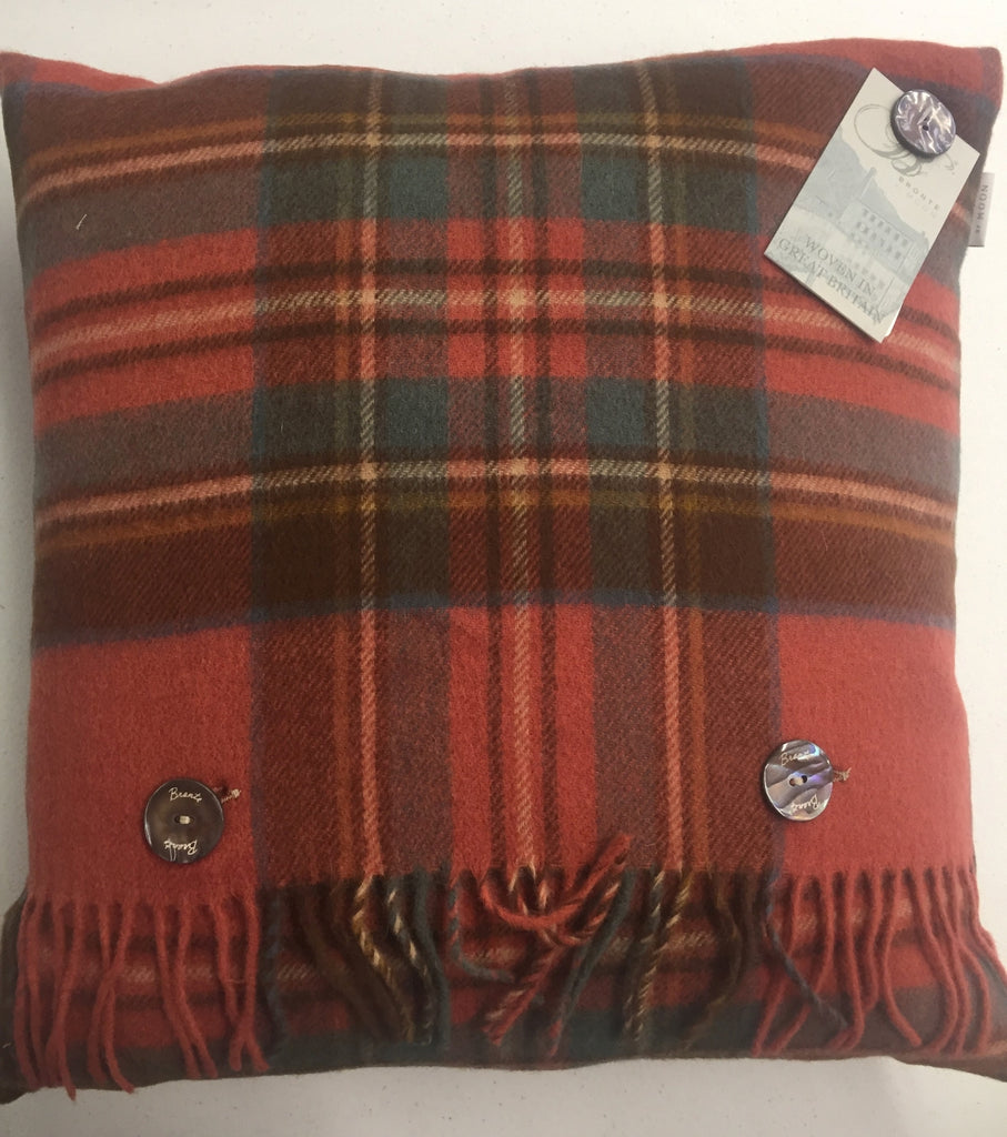 Merino Lambswool Antique Royal Stewart Tartan Plaid Pillow - Made in England