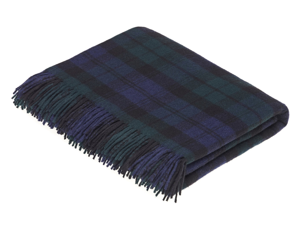 Tartan Plaid-Merino Lambswool - Clan Campbell Black Watch Throw Blanket-Made in England