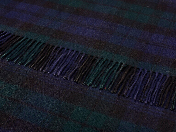 Tartan - Merino Lambswool -  Clan Campbell Black Watch Plaid - Throw Blanket