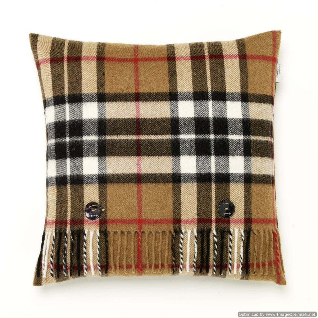 Merino Lambswool - Camel Thompson Tartan - Plaid Pillow