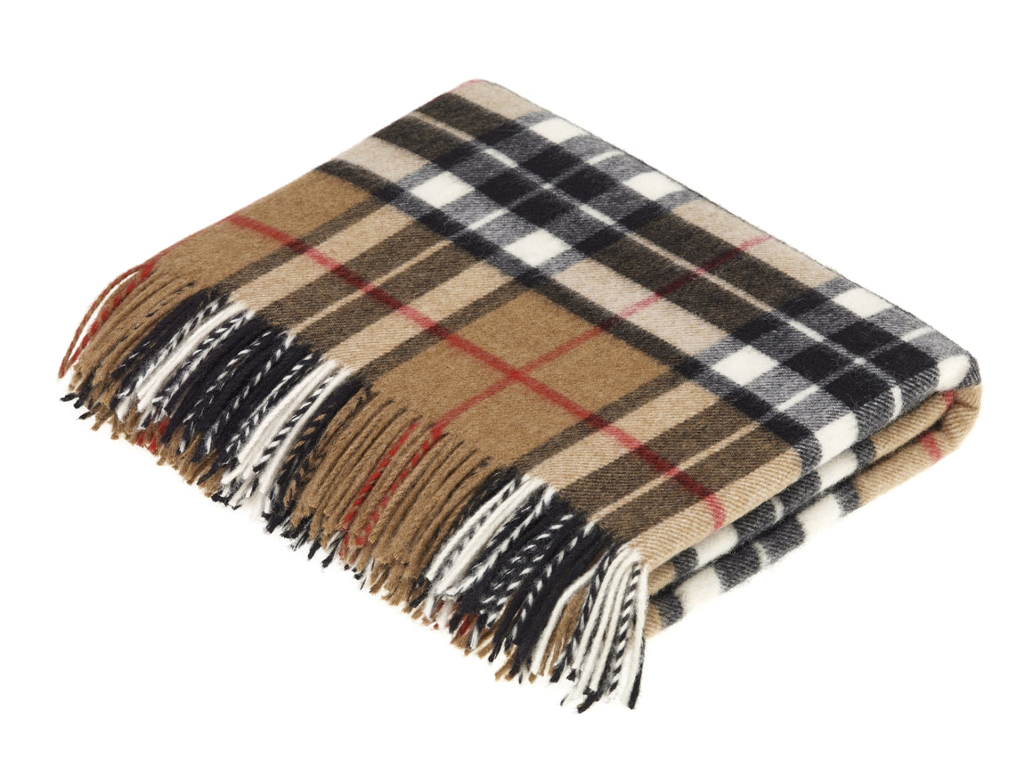 Tartan - Merino Lambswool -  Camel Thompson - Throw Blanket