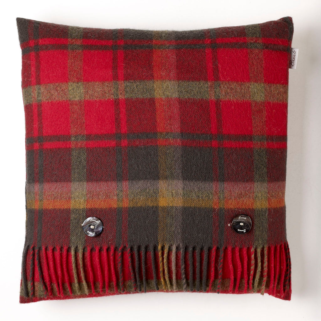Merino Lambswool - Dark Maple Tartan Plaid Pillow - Made in England