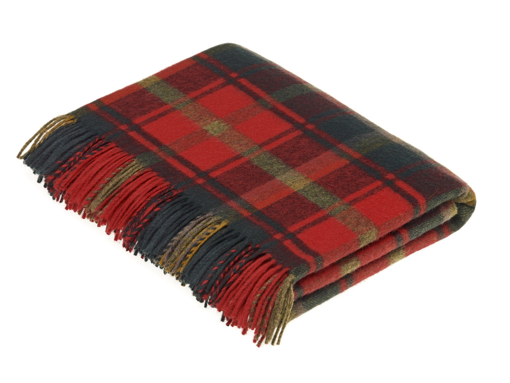 Tartan - Merino Lambswool -  Dark Maple - Throw Blanket